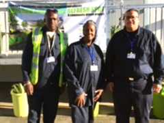 LA:RISE participants (left to right) Ricky, Gigi and Herbert are working as custodians at the new Skid Row Community ReFresh Spot in DTLA
