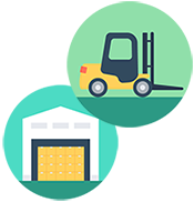 forklift and warehouse icons