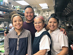 the Asapahu family in the kitchen of their family restaurant, Ayara Thai