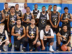 The Brotherhood Crusade YouthSource Center team following their game at the Gradelo Basketball Festival