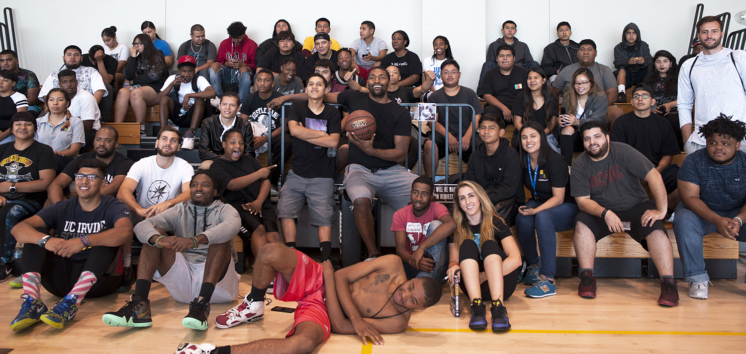 "Approximately 57 youth from five YouthSource Centers run by EWDD partners Brotherhood Crusade, CRCD, Para Los Niños and the Boyle Heights Technology YSC and the Youth Opportunity Movement Watts YSC had the chance to play basketball as part of ""A Conversation with Metta World Peace"""