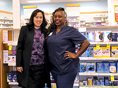 Daisy Tavares (right) received funding from the Downtown/Pico Union WorkSource Center to get training to become a pharmacy technician