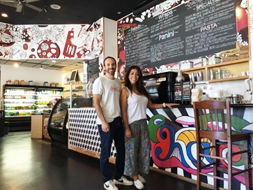 Mariano Farber and his wife inside their Los Angeles Restaurant, Kachi Deli Cafe & Grill