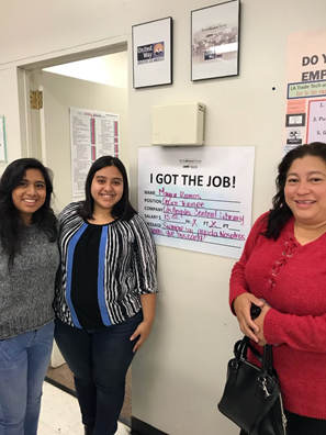 Mayra Ramos (right) got hired at the LA Public Library through the Targeted Local Hire Program with help from Vernon-Central/LATTC WSC Career Coaches Jocelyn Rodriguez (left) and Jessica Fuentes (center)