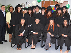 Para Los Niños Director of Youth Workforce Services Jorge Orozco and EWDD General Manager Jan Perry (Back row left to right) celebrate the graduation of 15 Certified Nursing Assistants