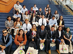 EWDD YouthSource participants pose on the steps outside the 2018 UnidosUS Future Changemakers Conference in Washington, DC