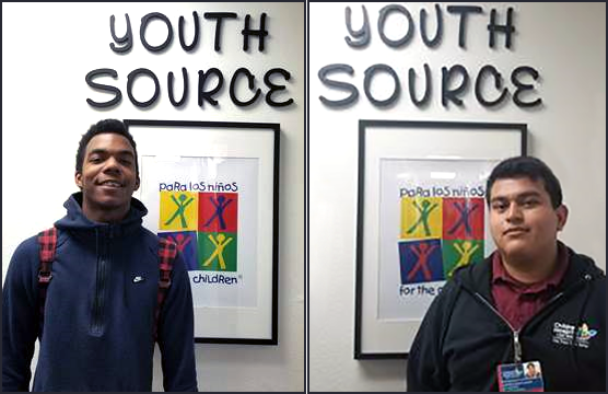Para Los Niños YouthSource Center helped Kevion (right) return to high school and find a job. PLN also helped Andres (right) start a career path with a job at Children's Hospital LA