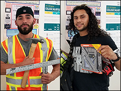 The Vernon-Central/LATTC WorkSource Center provided recent construction graduates Anthony Moreno (left) and Jonathan Hernandez (right) with boots and tools to start their new jobs in the trades