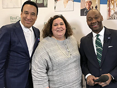 (Left) WDB Executive Director Gregg Irish and WDB Board Member and Executive Director of the LA Hospitality Training Academy Adine Forman with a ResCare official at NAWB Forum 2018 in Washington, DC