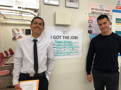 Jimmy Arteaga (left) found a job with help from Vernon-Central/LATTC WorkSource Center Career Coach Leo Rios (right)