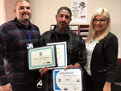 Goodwill SoCal helped LA:RISE participant Raymond Vasquez (center) receive the support and training he needed to get a full-time job