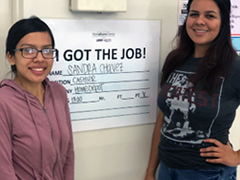 LA:RISE participant Sandra Chavez (left), pictured with WorkSource Career Coach Maria Esparza after being offered a full-time job at Home Depot
