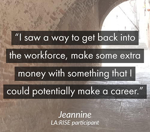 I saw a way to get back into the workforce, make some extra money with something that I could potentially make a career (quote text layered over a tunnel path leading into sunshine)