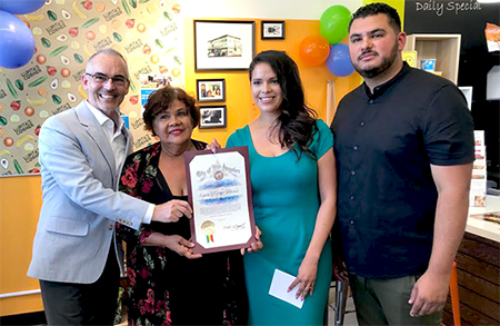Maria Olague and her daughter Luz Arango receive City of LA award for combatting Westlake area food desert