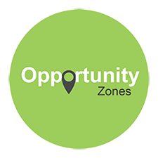 Opportunity Zones label in green circle badge