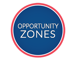 Opportunity Zones text in circle badge
