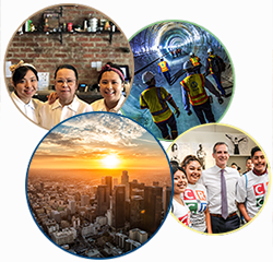 layered images of DTLA, subway construction, Mayor Garcetti with YouthSource, and BusinessSource client Ayara Thai