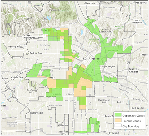 map of the Los Angeles Promise Zone within the boundaries of LA Opportunity Zones (LA Department of City Planning arcGIS tool)