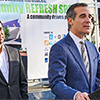 LA Mayor Eric Garcetti speaks at the DTLA Hygiene Center opening