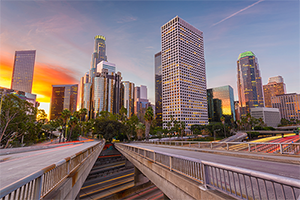 picture of downtown Los Angeles city at sunset as seen from the west side of the 110 freeway
