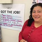 Mayra Ramos got hired at the LA Public Library through the Targeted Local Hire Program with help from Vernon-Central/LATTC WSC Career Coaches