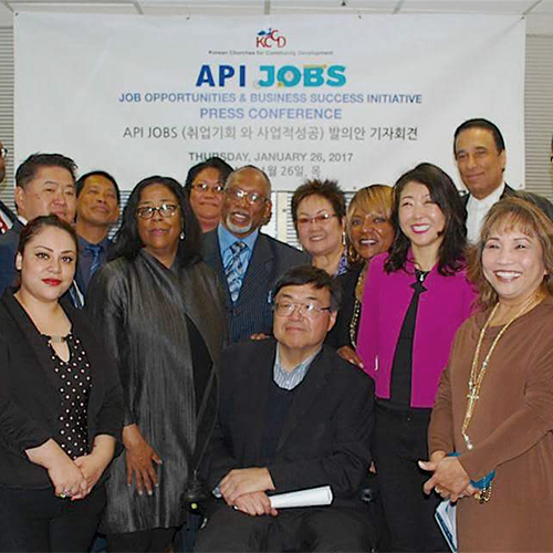 Korean Churches for Community Development with Representatives from EWDD & Workforce Development Board at Press Conference Announcement of WIOA Funding for the Linguistically Isolated