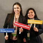 PLN students Angeline Moran (left) and Alexa Flores (right) recently attended several UnidosUS leadership events in Washington, DC
