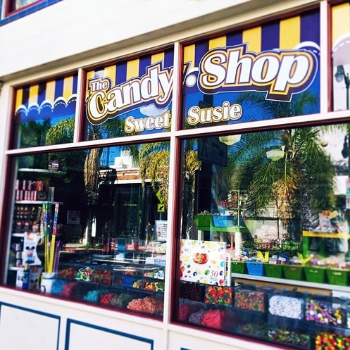 Exterior of Sweet Susie's Candy Shop in San Pedro