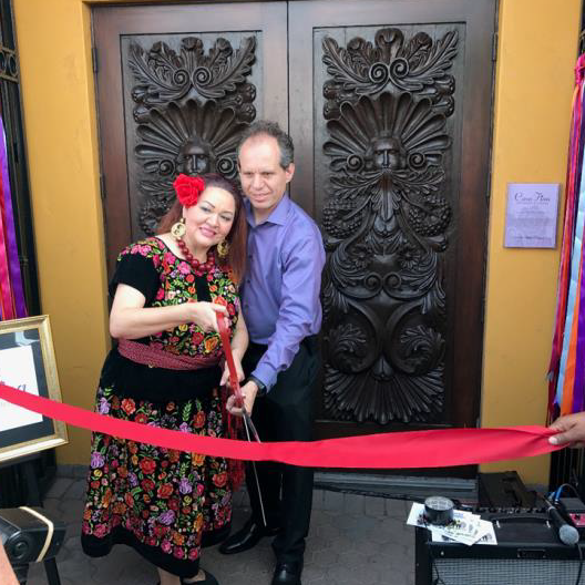 Casa Fina Restaurant and Cantina founders Josefina Lopez and Emmanuel Deleague at the May 5, 2017 Grand Opening ribbon cutting